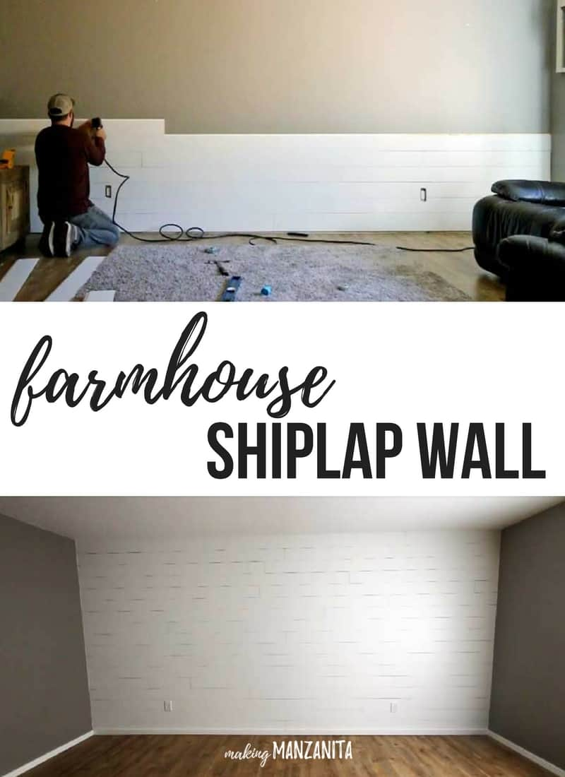 Easy DIY Tutorial for farmhouse shiplap accent wall to go with fixer upper decor style | Rustic farmhouse accent wall in living room |