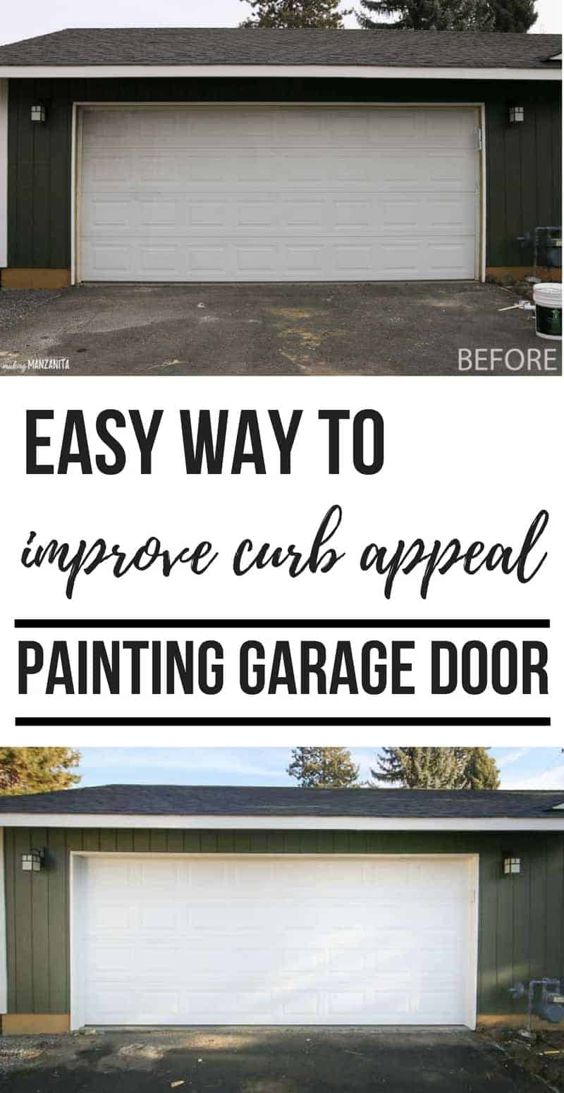Easy way to improve curb appeal - DIY painting garage door ideas! White garage door | Dark hunter green exterior house paint and white trim | Behr Marquee exterior paint | Black Bamboo paint color | How to repaint garage door the right way