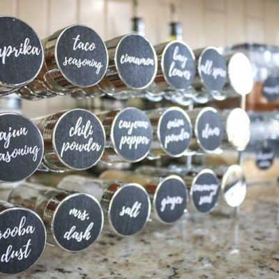 Brilliant Spice Cabinet Organization (and free printable spice jar sticker labels!)