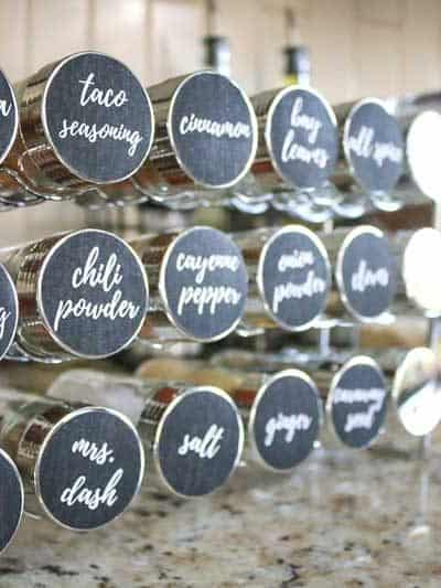 Brilliant Spice Cabinet Organization (and free printable spice jar sticker labels!)
