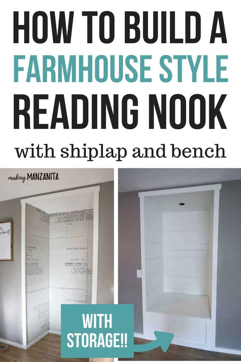 shows a before and after photos of alcove transformed into built in reading nook bench with overlay text that says how to build farmhouse style reading nook with shiplap and bench with storage