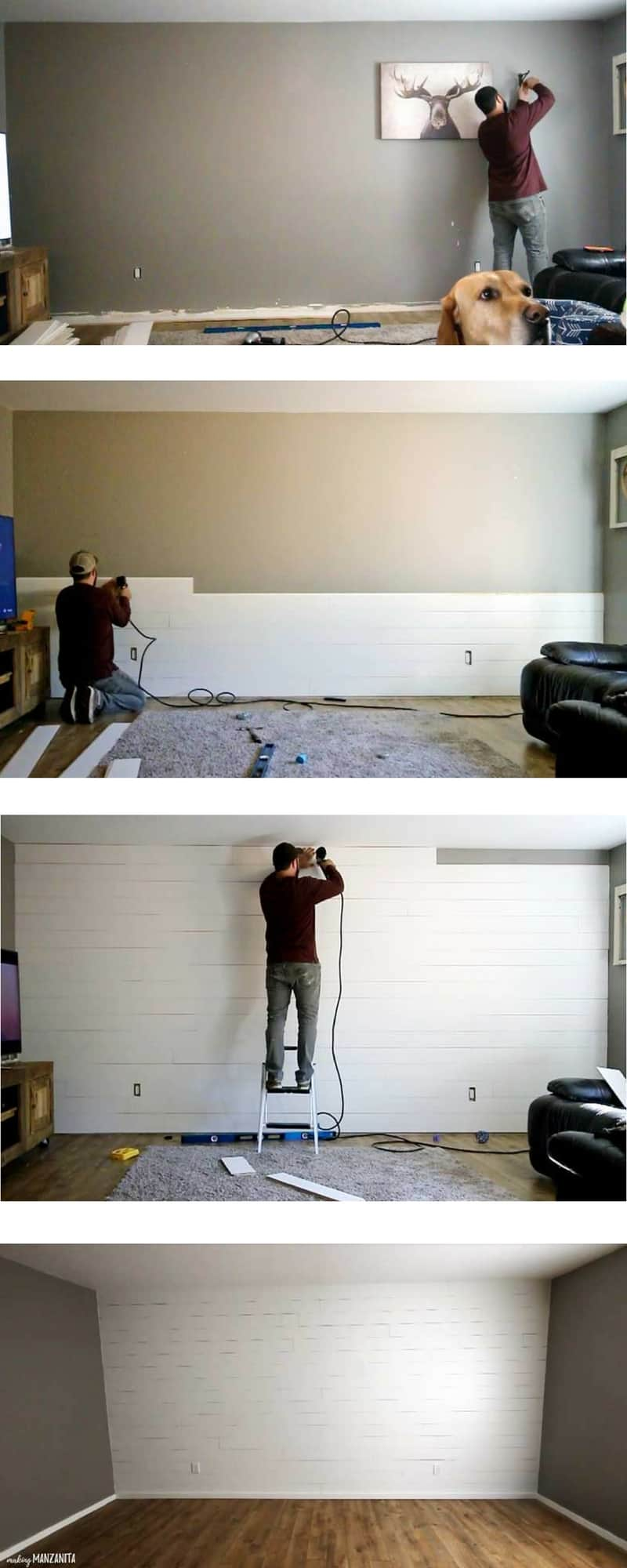 a tall image divided into 4 sections vertically, top showing the process of removing items from a wall in preparation, second from the top showing a shiplap wall halfway installed, second from the bottom showing a mostly finished shiplap wall getting the top row installed, bottom showing the finished shiplap wall