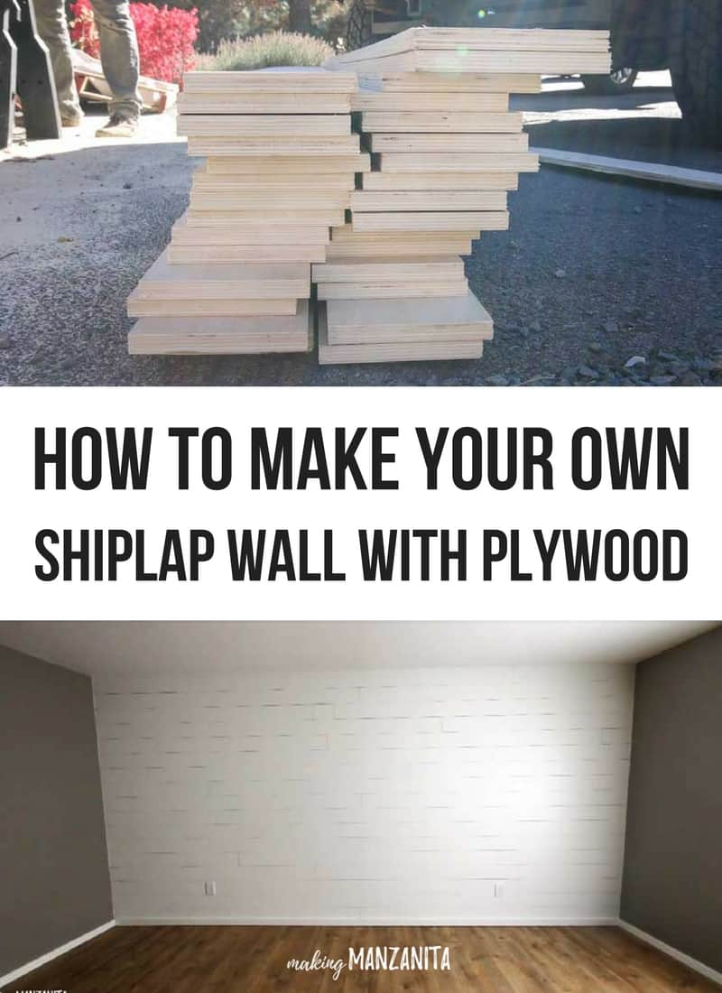 a tall image with two smaller photos, one of a pile of cut wooden boards, one with a finished plywood shiplap wall ...with a text overlay between the images that says... how to make your own shiplap wall with plywood