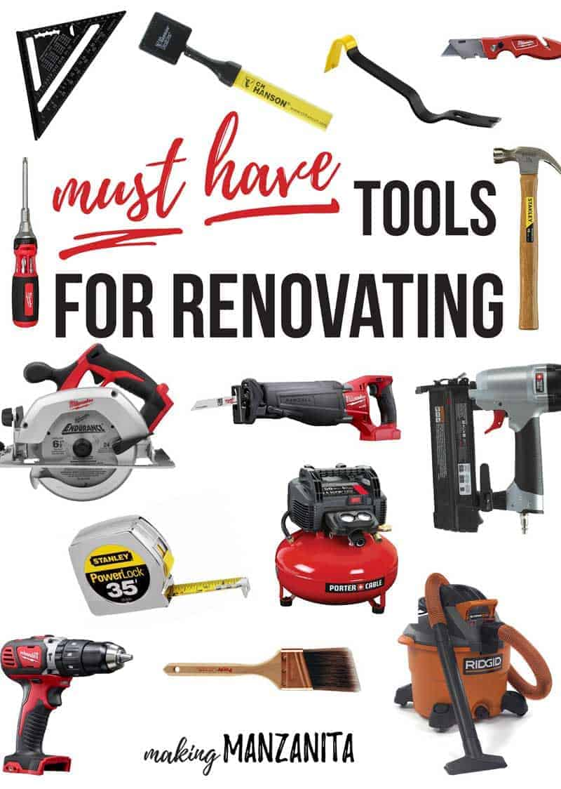 So, you just purchased a fixer upper and you are ready to go to work on renovations...but you don't know what tools you are going to need most? Check out these must have tools for renovations for the most versatile list of tools for every type of renovating.