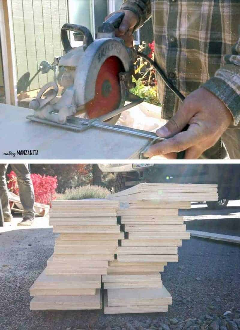 a split photo with two different images in it separated by a white line, the top is a shot of a man using a handheld circular saw to cut wood, bottom is a shot of a stack of freshly cut wood panels