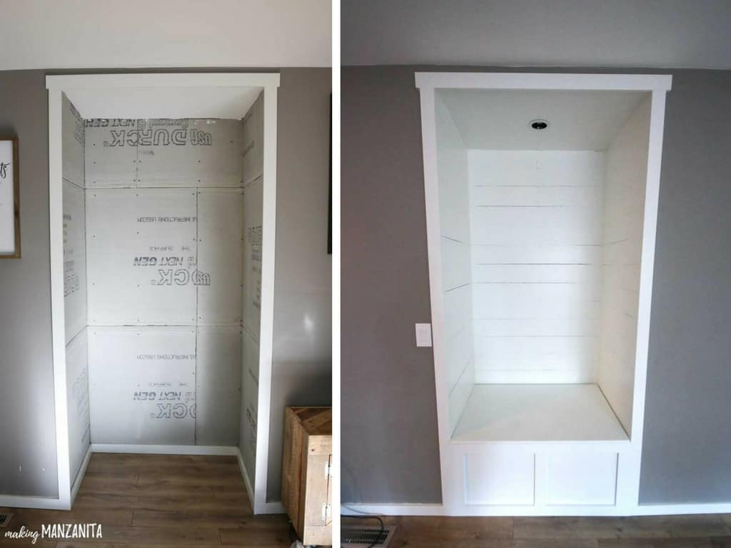 Before and after picture of reading nook installed in a alcove in living room with farmhouse style, shiplap walls and a storage bench