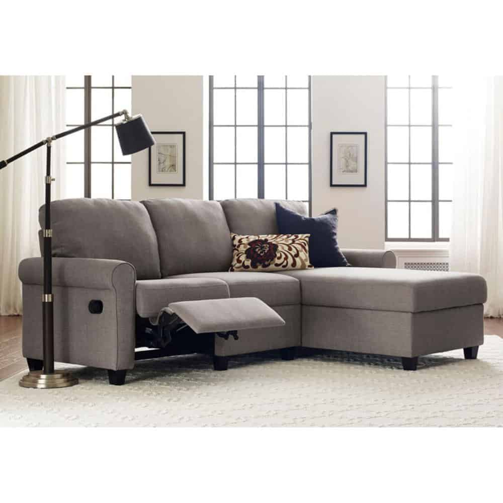 Reclining gray sectional with storage