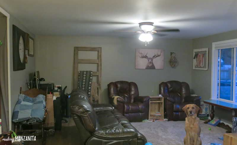 a shot of a living room with a dog sitting in the middle, surrounded by various rustic decor, two cushy recliners, and a similarly comfortable looking couch