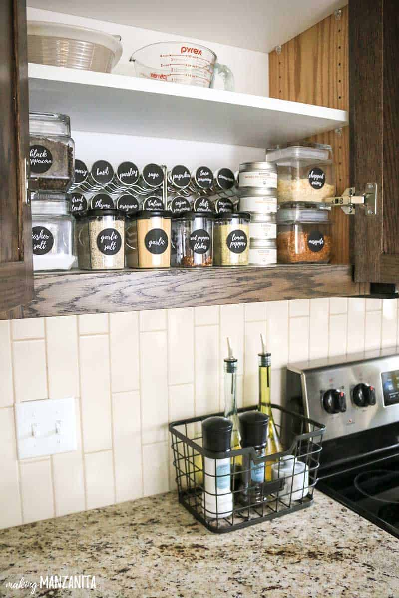 DIY spice organization in cabinet | Small spice kitchen organization ideas | Keep basket on countertop with everyday items, like salt and pepper and olive oil | Spice storage inspiration in cupboard #ad