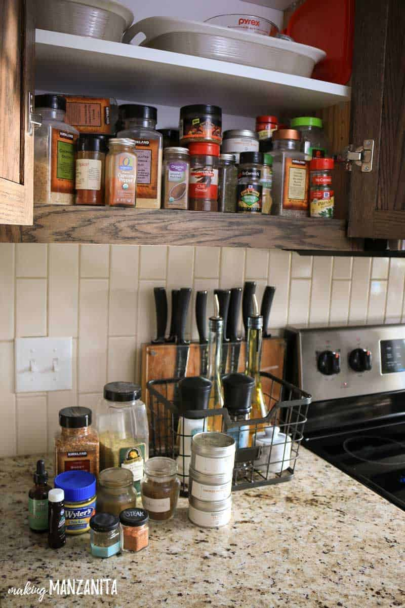 Turn a messy spice cabinet into a pretty and organized spice rack with labels #ad