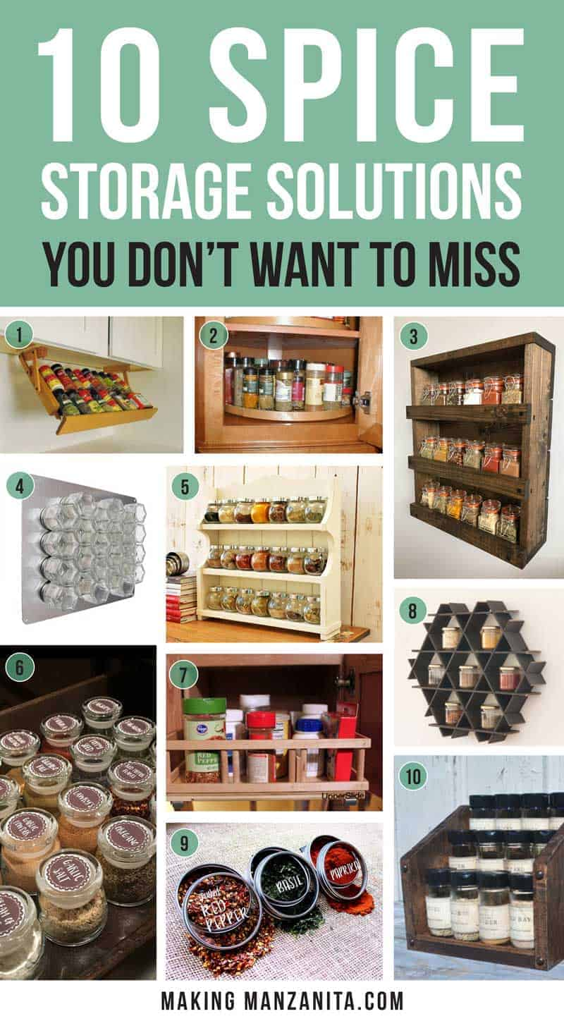 10 Spice Storage Solutions You Don't Want to Miss | Creative ways to organize your spices in your kitchen | Love all of these simple spice organization ideas! | Under cabinet spice rack, lazy susan, wall mount spice rack, magnetic spice rack with hexagon glass jars, farmhouse style wood spice rack, modern geometric spice storage for wall, chalkboard spice sticker labels, sliding cabinet caddy, magnetic spice tins with labels