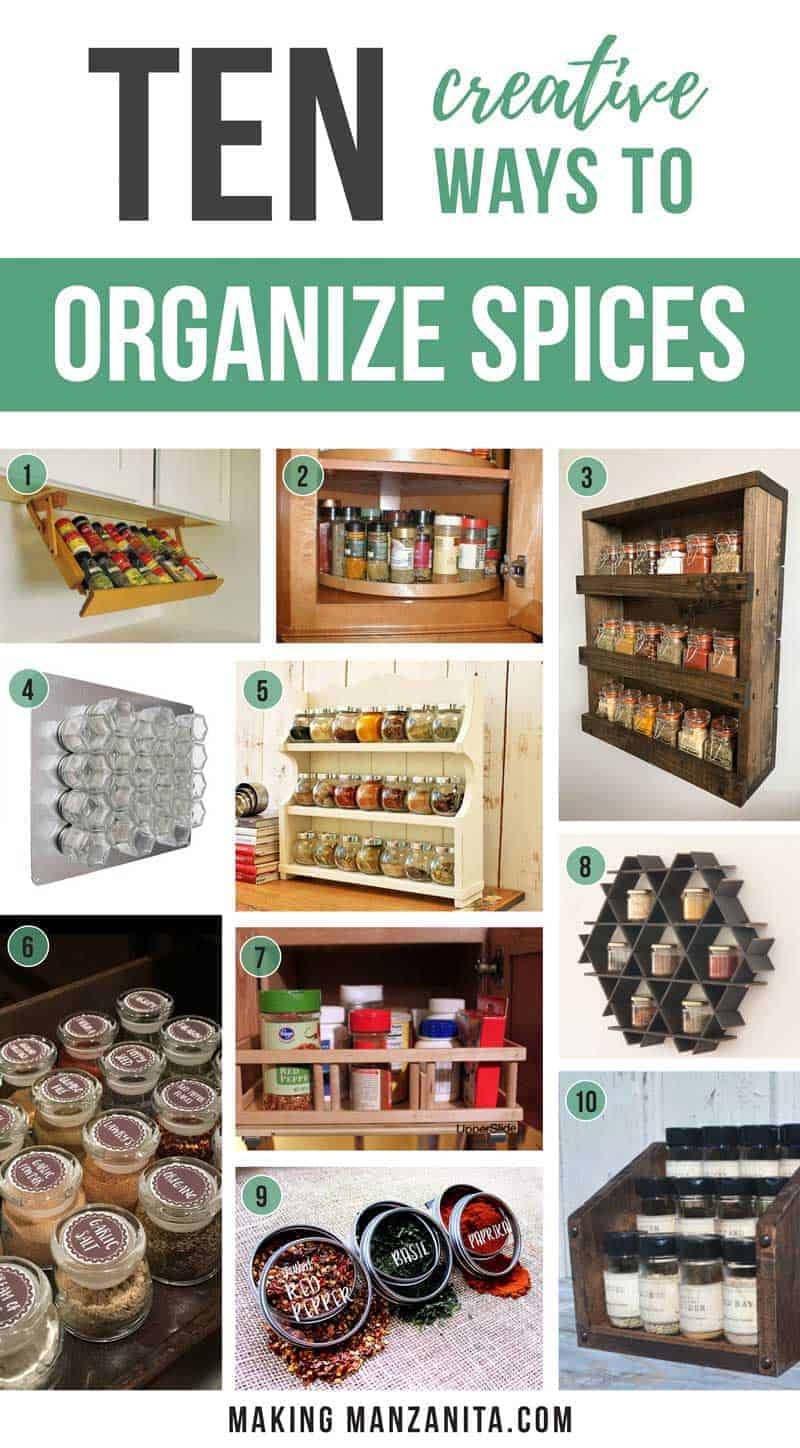 It's time to get your spices organized!! Organizing your spices can make a big difference in your kitchen. Bring a little efficiency and convenience to your kitchen with these 10 spice storage solutions you don't want to miss! 10 Creative Ways To Organize Spices | Spice Organization Ideas | Containers and spice racks for your pantry, countertop, walls or spice cabinets