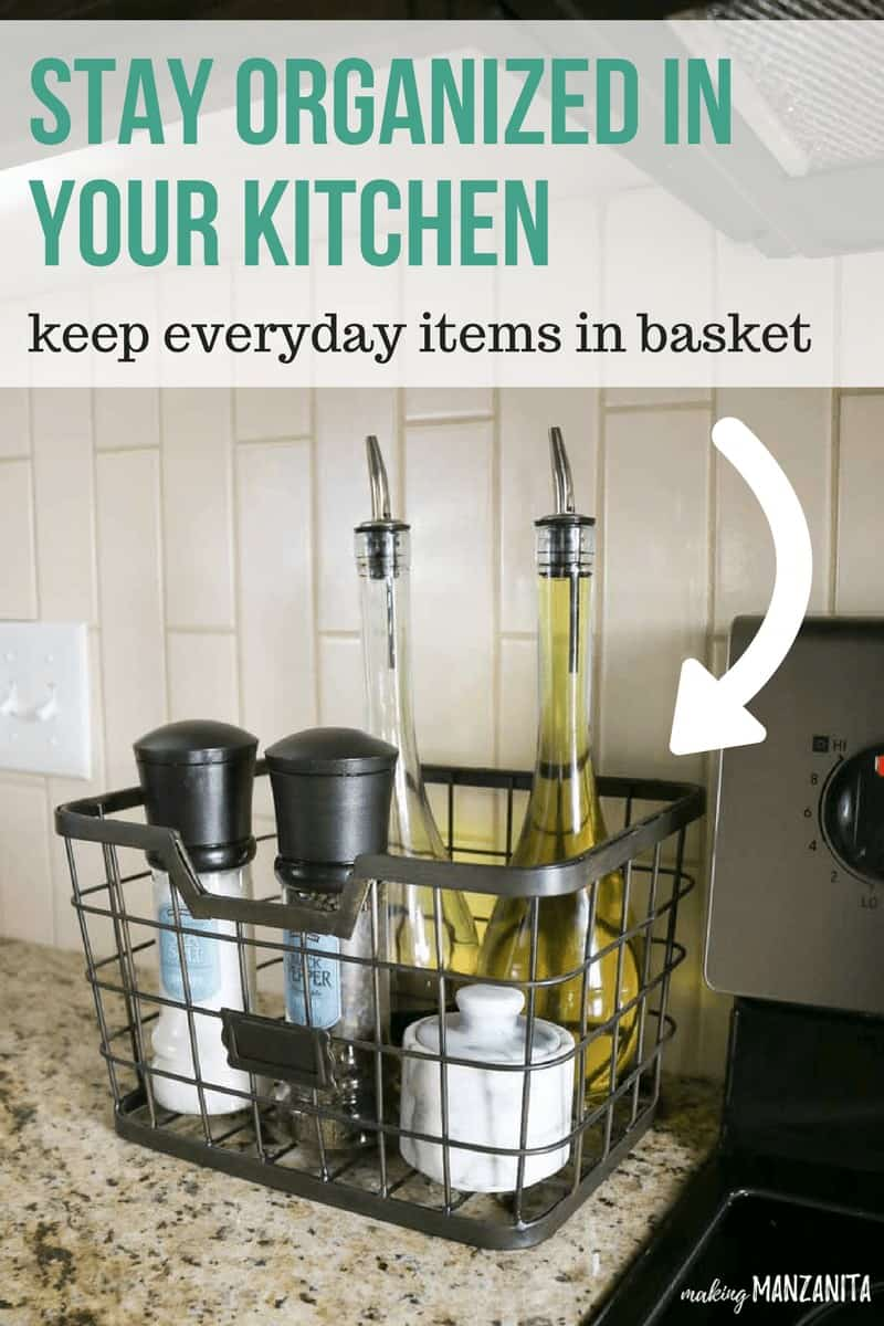 Stay organized in your kitchen! Keep everyday items in basket at an arms reach from the oven.   Simple DIY kitchen organization tips and ideas #ad
