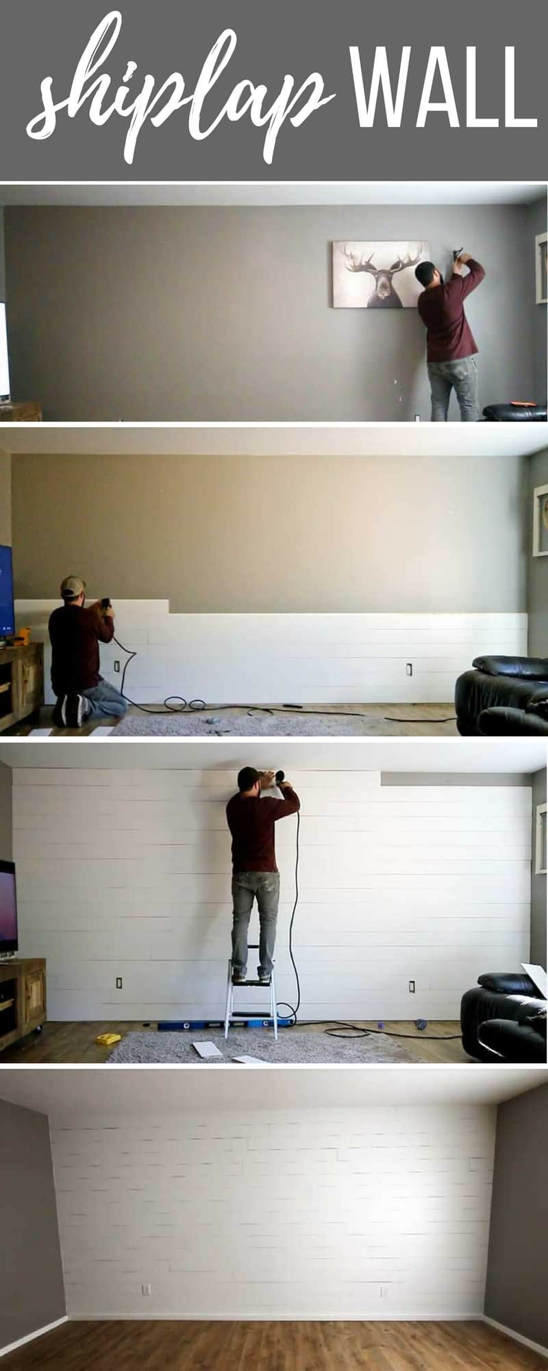 Dramatic transformation with a white painted shiplap accent wall | DIY step by step tutorial | How to make your own shiplap with plywood with router table
