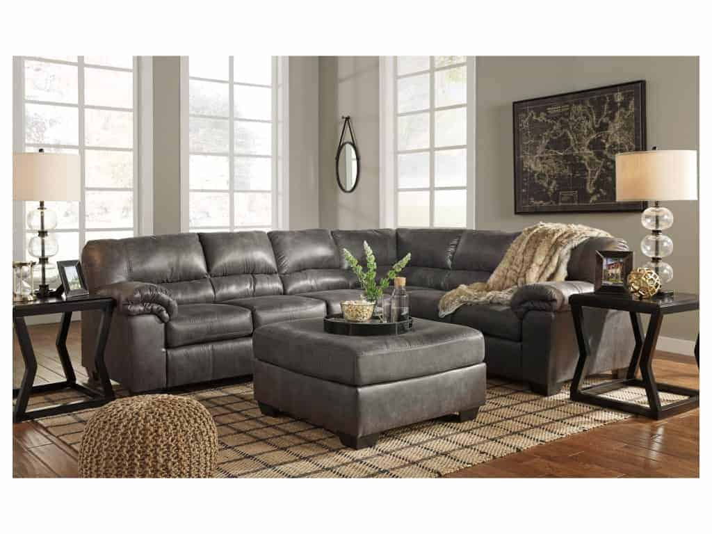 Modern farmhouse gray couch with a leather appearance