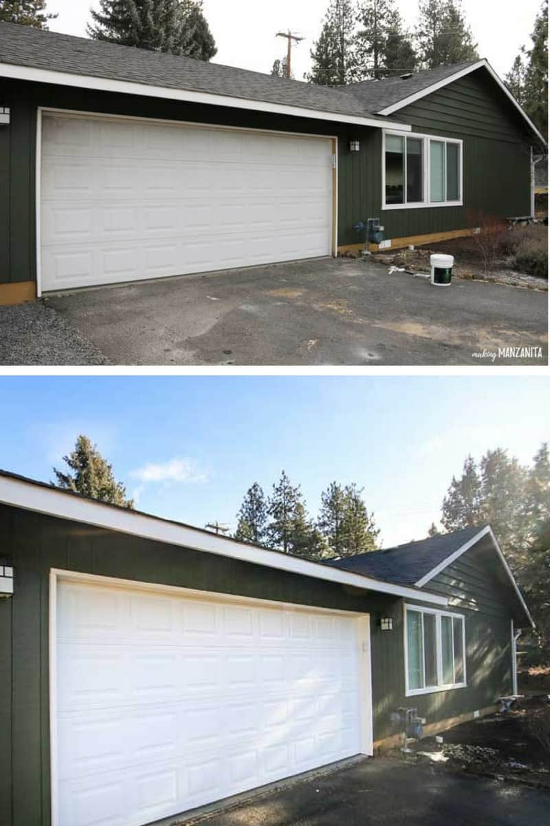 Dramatic transformation of painting garage door to improve your home's curb appeal