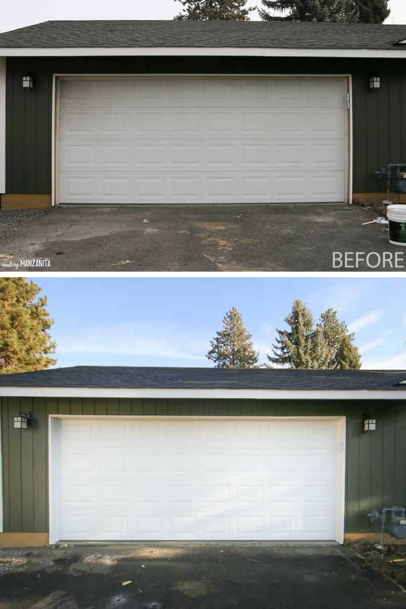 Before and after transformation of painting your garage door | Post has 9 tips for DIY painting garage door ! | Great way to refresh your home's exterior