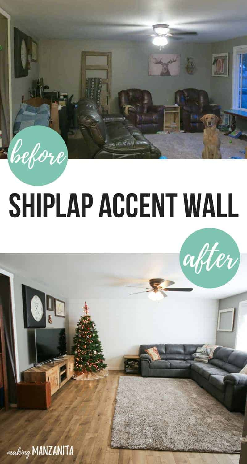 Before and after shiplap accent wall with plywood | How to bring farmhouse style to your living room and make it feel larger | Bring out your inner Joanna Gaines and give your living room a fixer upper makeover