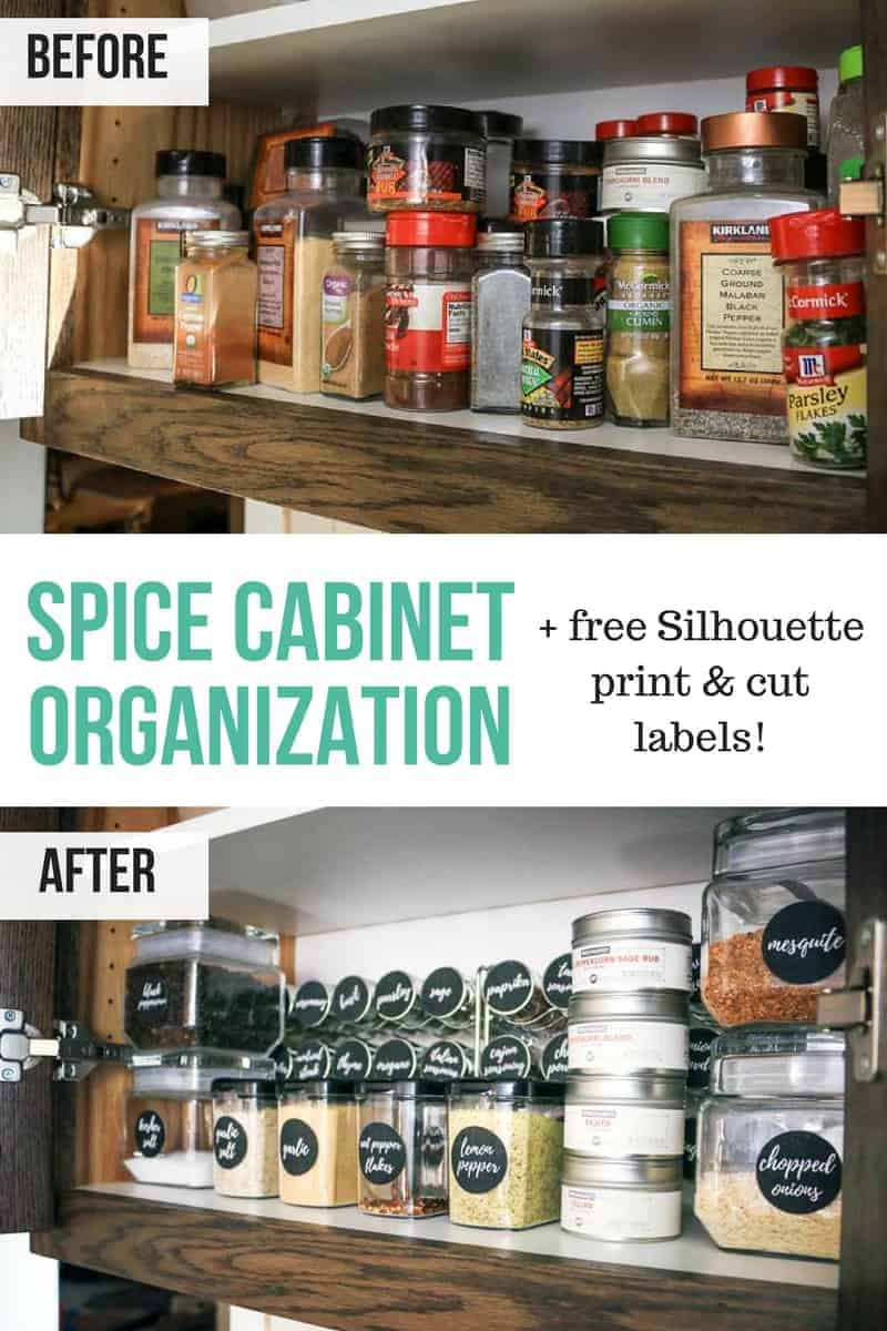 Spice cabinet organization with free Silhouette print and cut spice jar labels | Black round circle labels for spice jars | Before and after DIY awesome spice cabinet makeover #ad