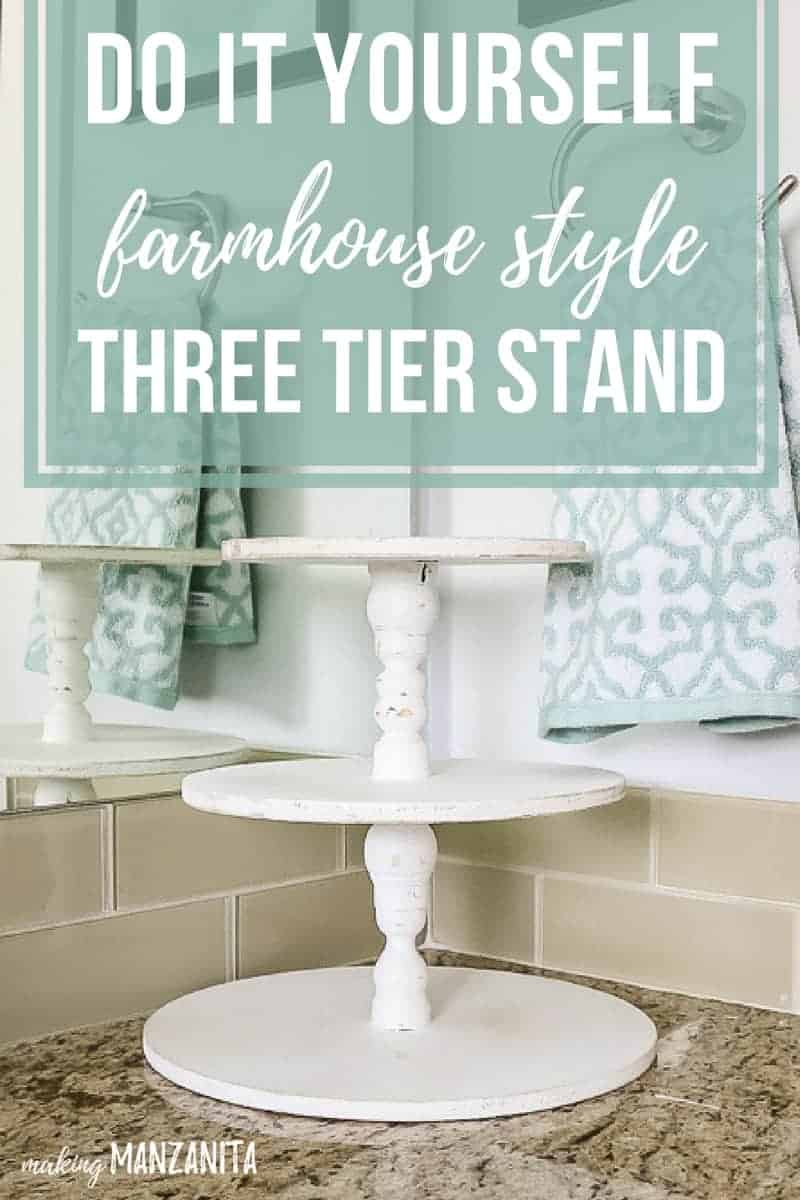DIY Farmhouse Three Tier Stand for Bathroom Countertop Storage ...