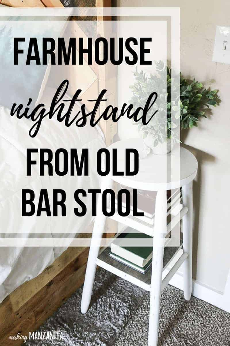 Farmhouse nightstand from old bar stool | See how to take a $5 bar stool from thrift store and give it a chalk paint makeover to turn it into a narrow bedside table that works perfect in small master bedroom as a skinny night stand!