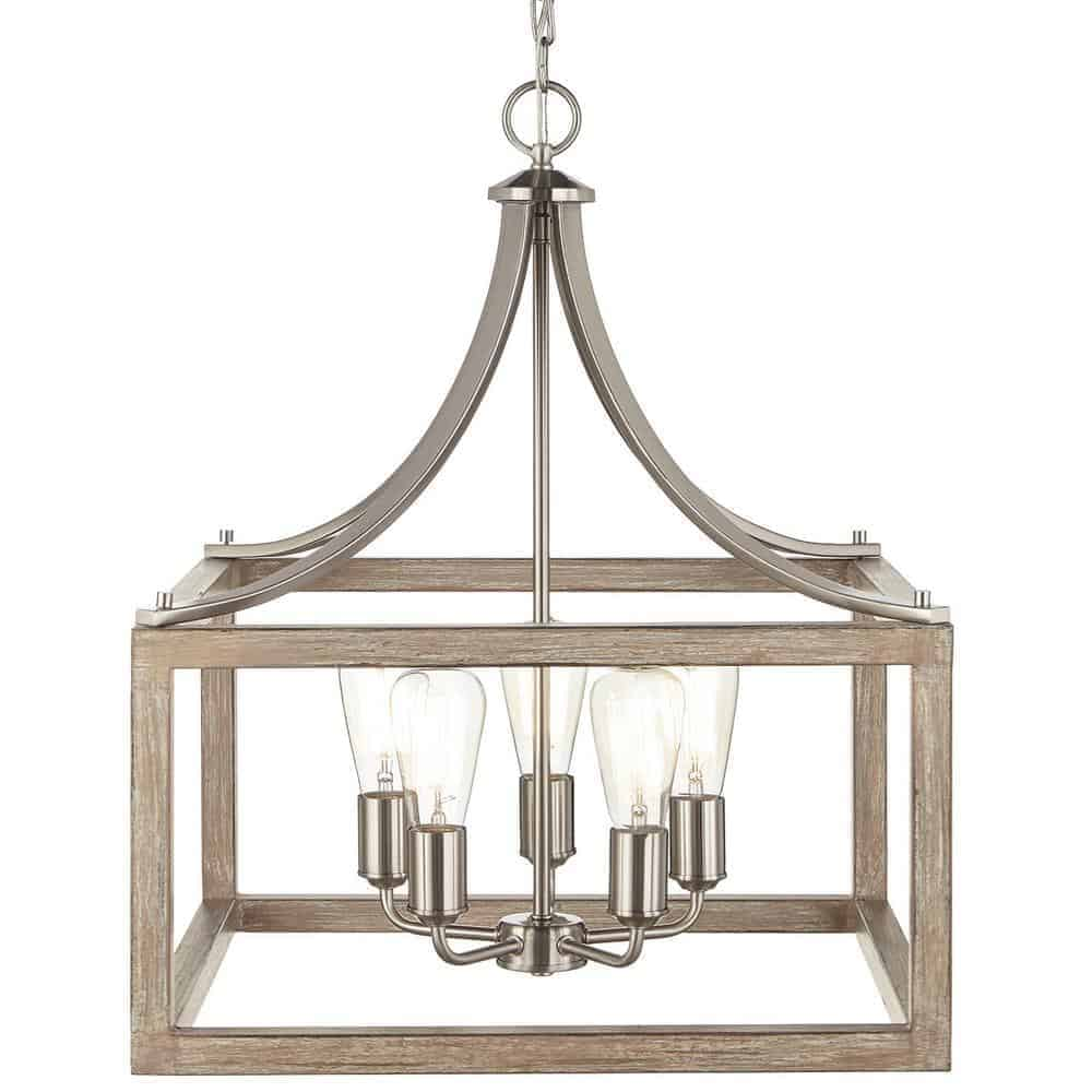 Boswell Quarter Collection 5-Light Brushed Nickel Pendant with Painted Weathered Gray Wood Accents   Home Decorators Collection from Home Depot