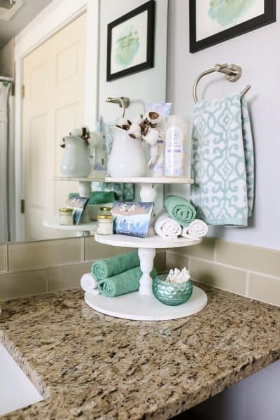 DIY Farmhouse Three Tier Stand for Bathroom Countertop Storage