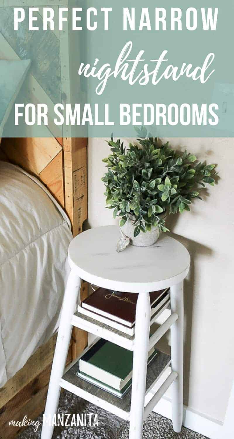 Looking for the perfect narrow nightstand for small bedrooms? Consider flipping an old bar stool into a nightstand by painting and adding wood shelves! Click for full tutorial & video!