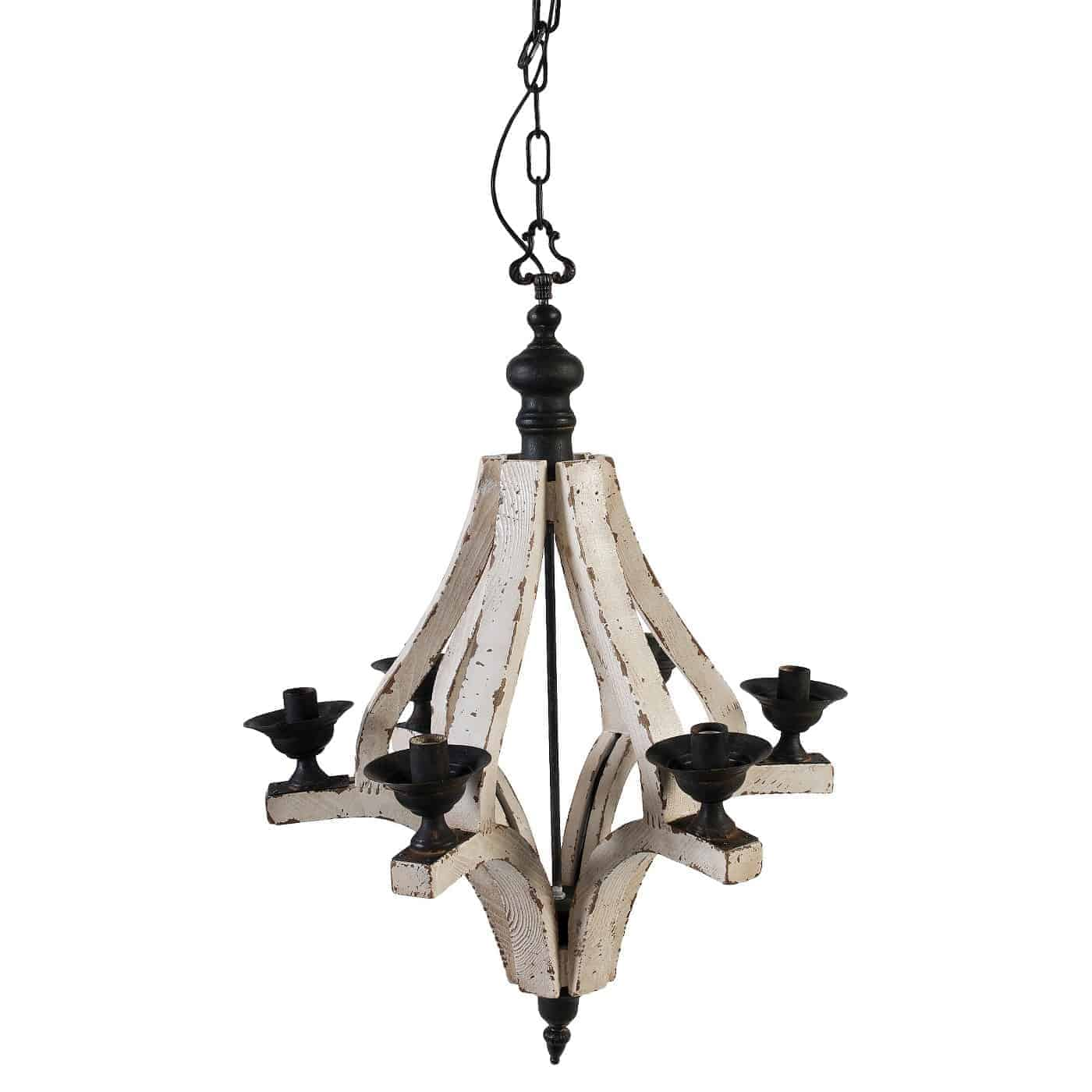 A&B Home Wood Chandelier - Off White