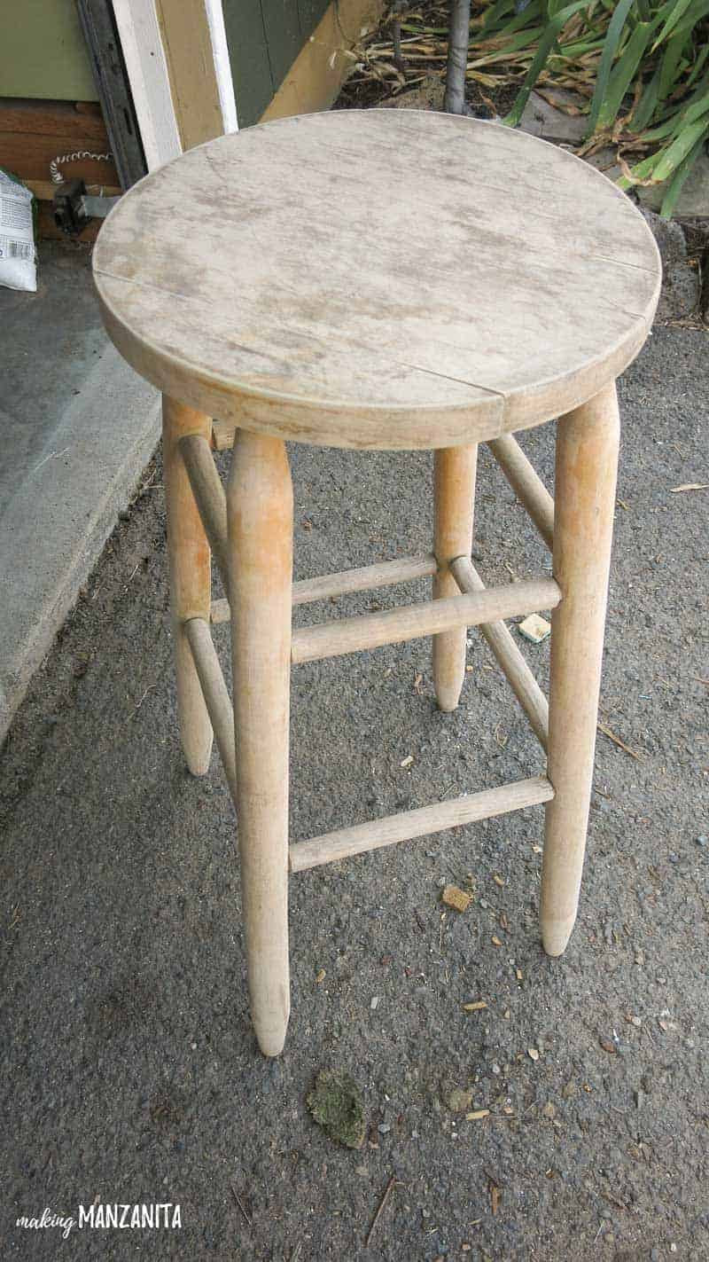 You'll be shocked at what this old $5 bar stool from the thrift store is transformed into!