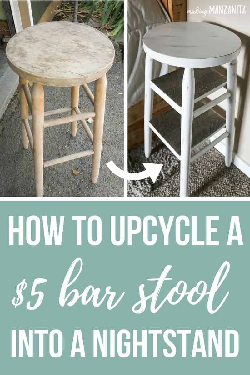 Two side by side before and after photos of an old bar stool, painted with shelving added to transform into a narrow bedside table ...with a text overlay that says... how to upcycle a $5 bar stool into a nightstand