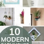 shows 8 various modern farmhouse planters with overlay text that says 10 modern farmhouse planters
