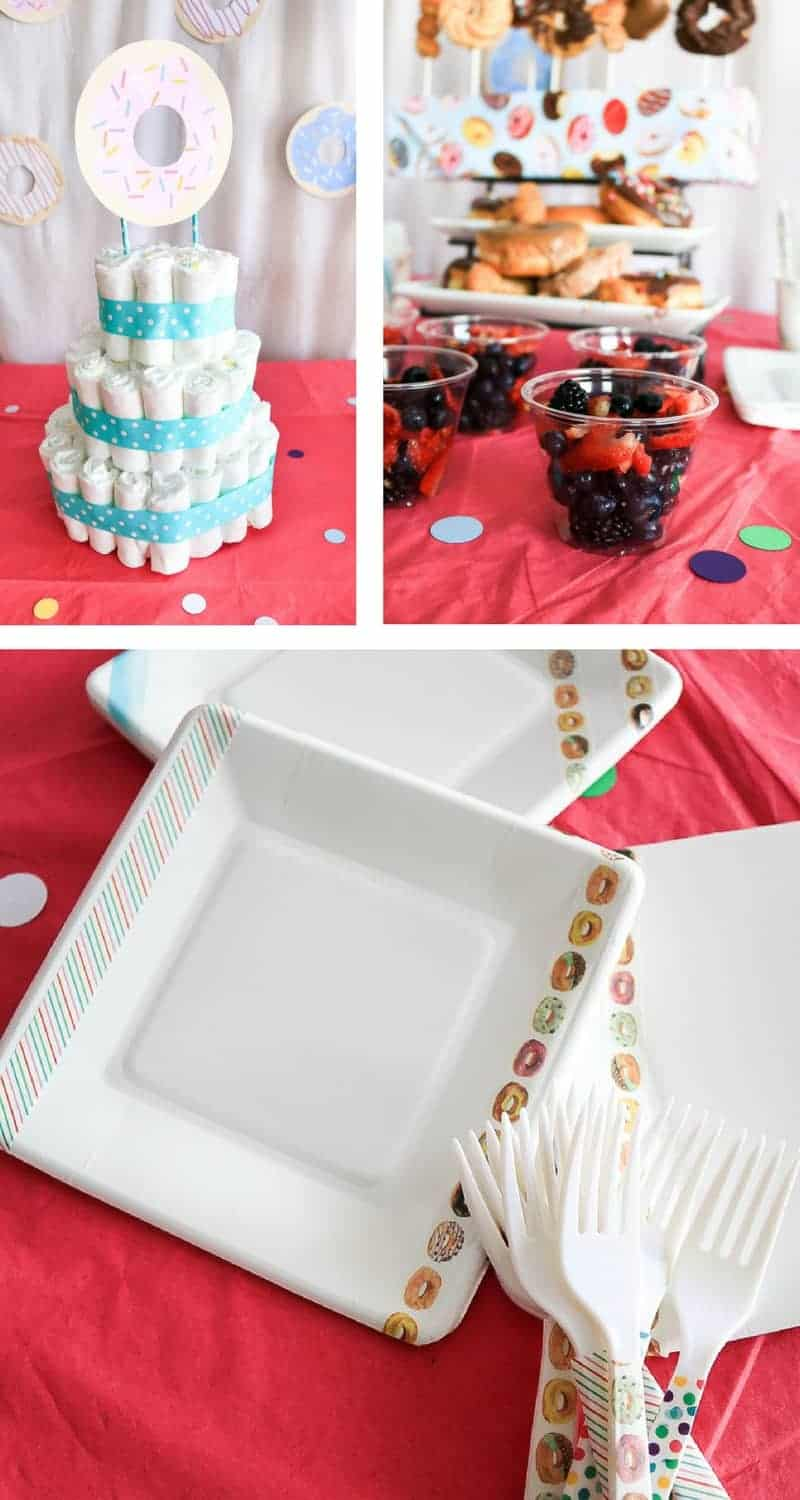 Photo collage with diaper cake photo, donuts and berries displayed on table and paper plates with colorful washi tape