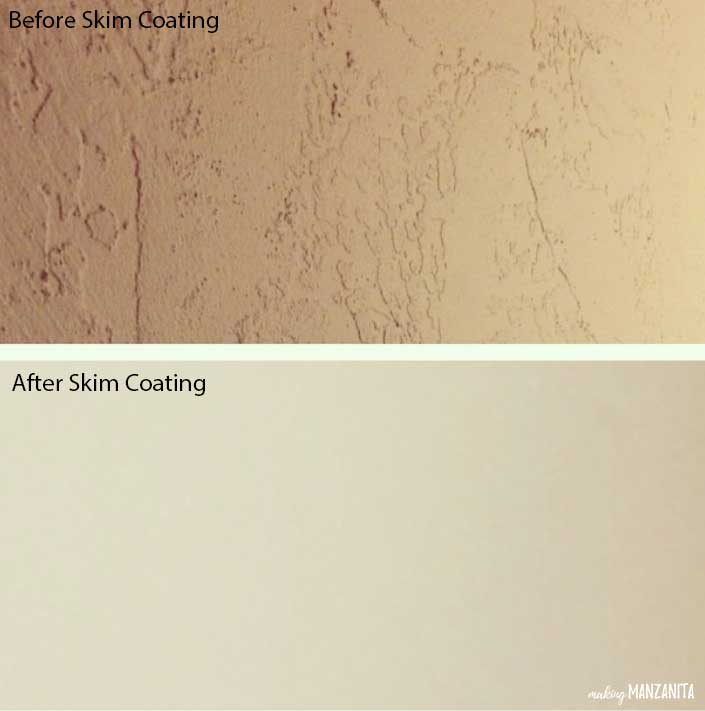 2 photos showing the before and after of skim coating walls. Before photo shows rough, splotchy texture and after photo shows smooth walls
