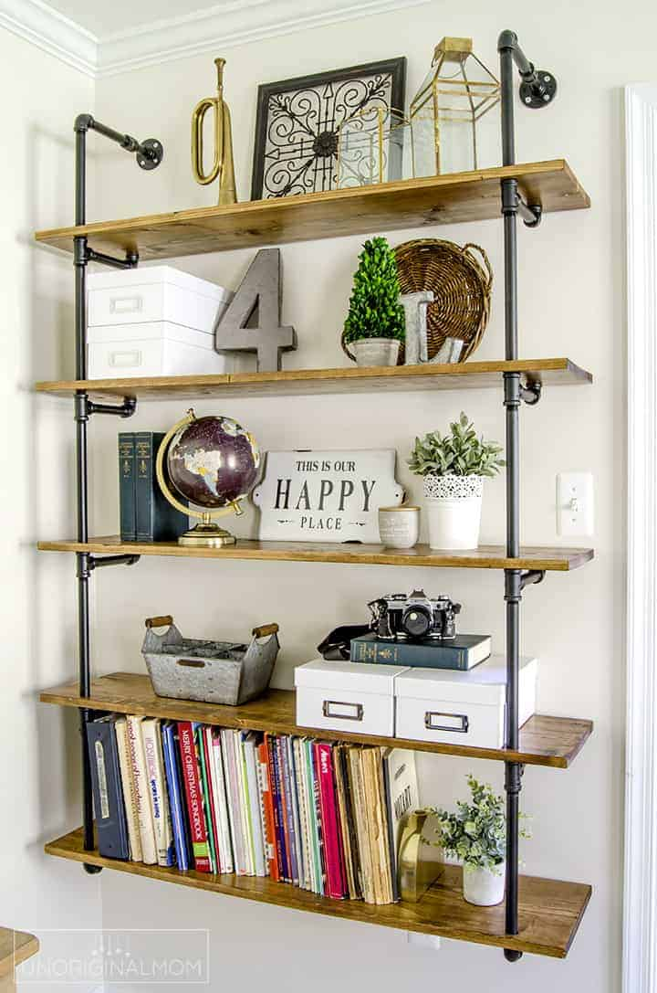 Pipe industrial shelving decorated