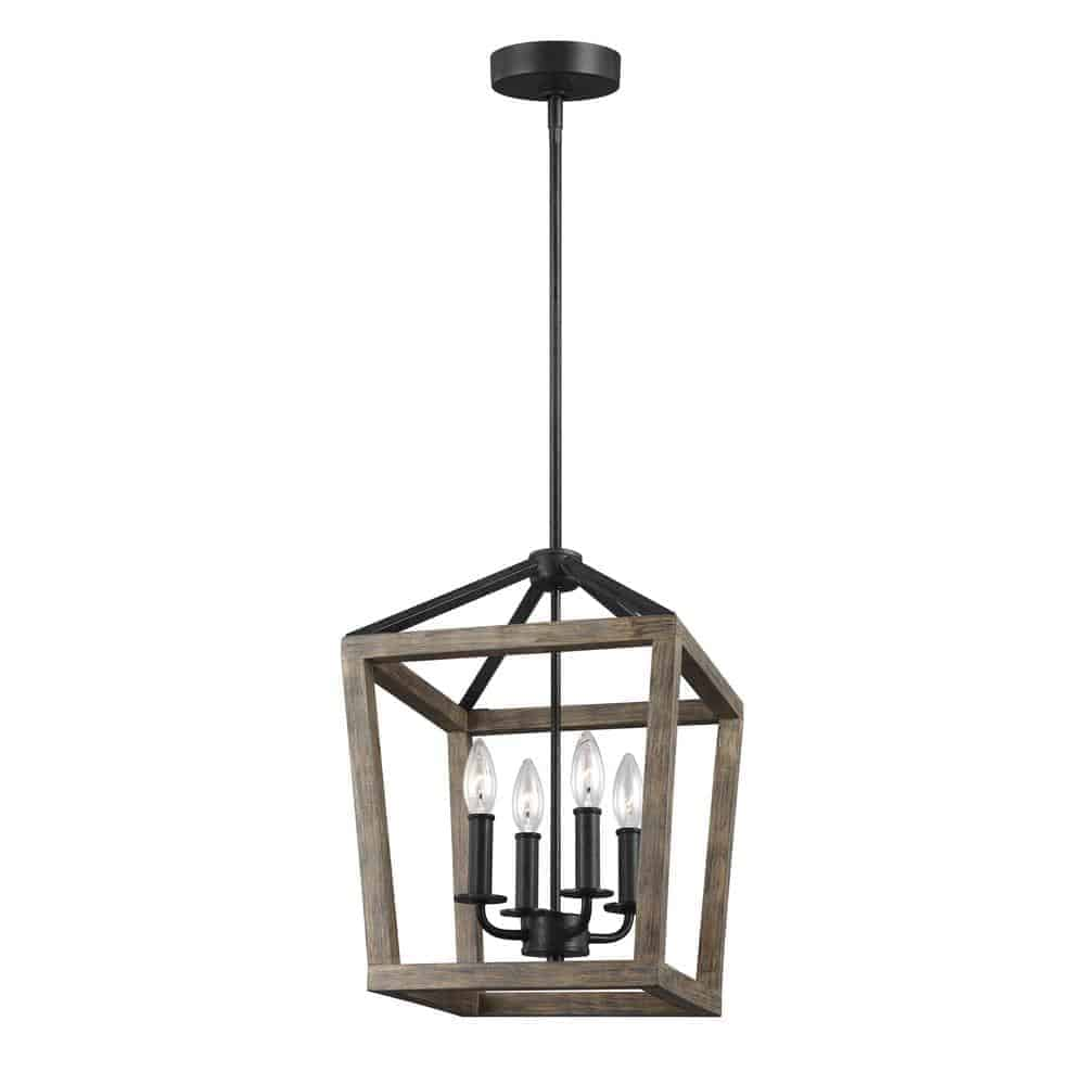 Feiss Gannet 12 in. W. 4-Light Weathered Oak Wood and Antique Forged Iron Chandelier from Home Depot