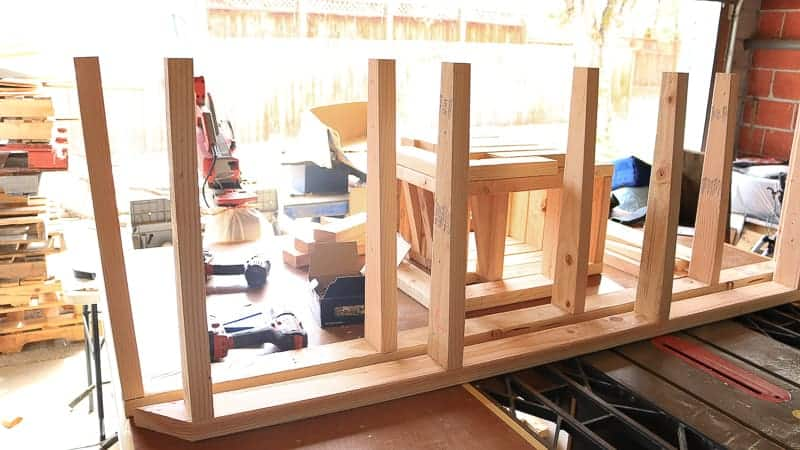 Framing for the back of bench with angle