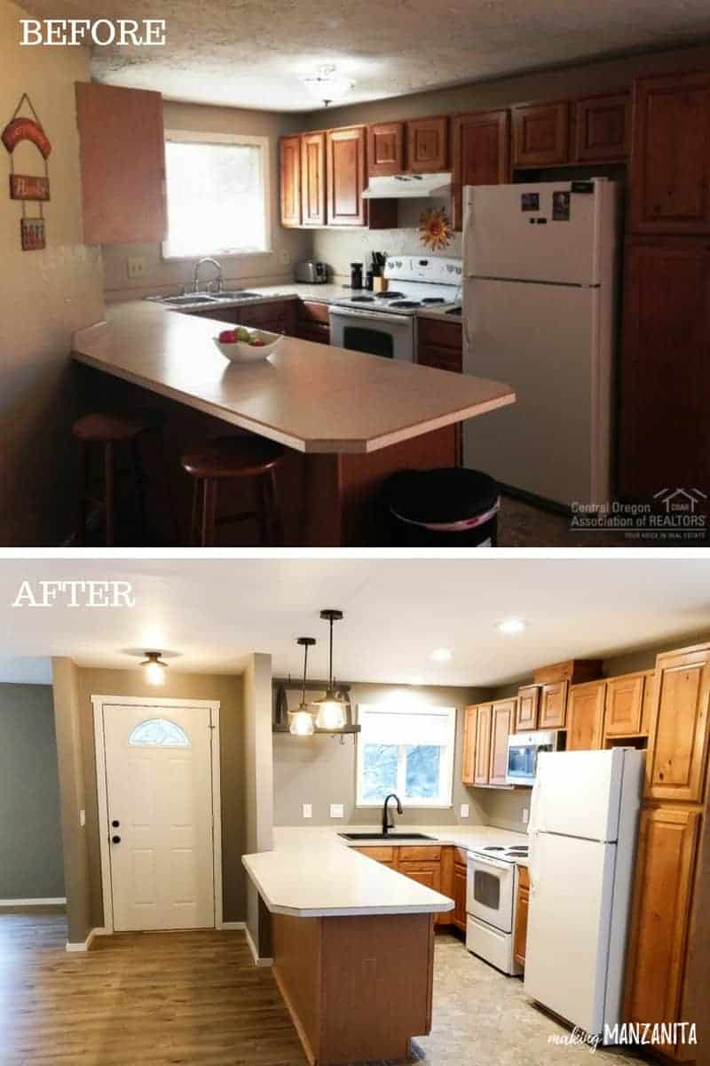 Before and after photo showing kitchen with wood cabinets and tan countertops