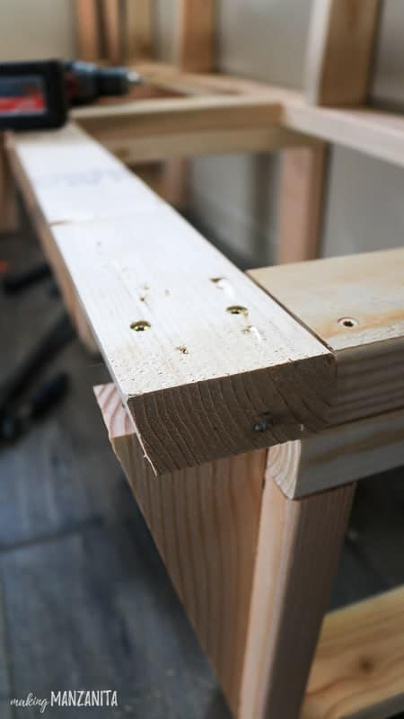 Close up shot of interior framing for dinette bench in kitchen