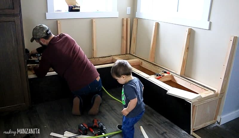 Attaching bench seating in kitchen breakfast nook