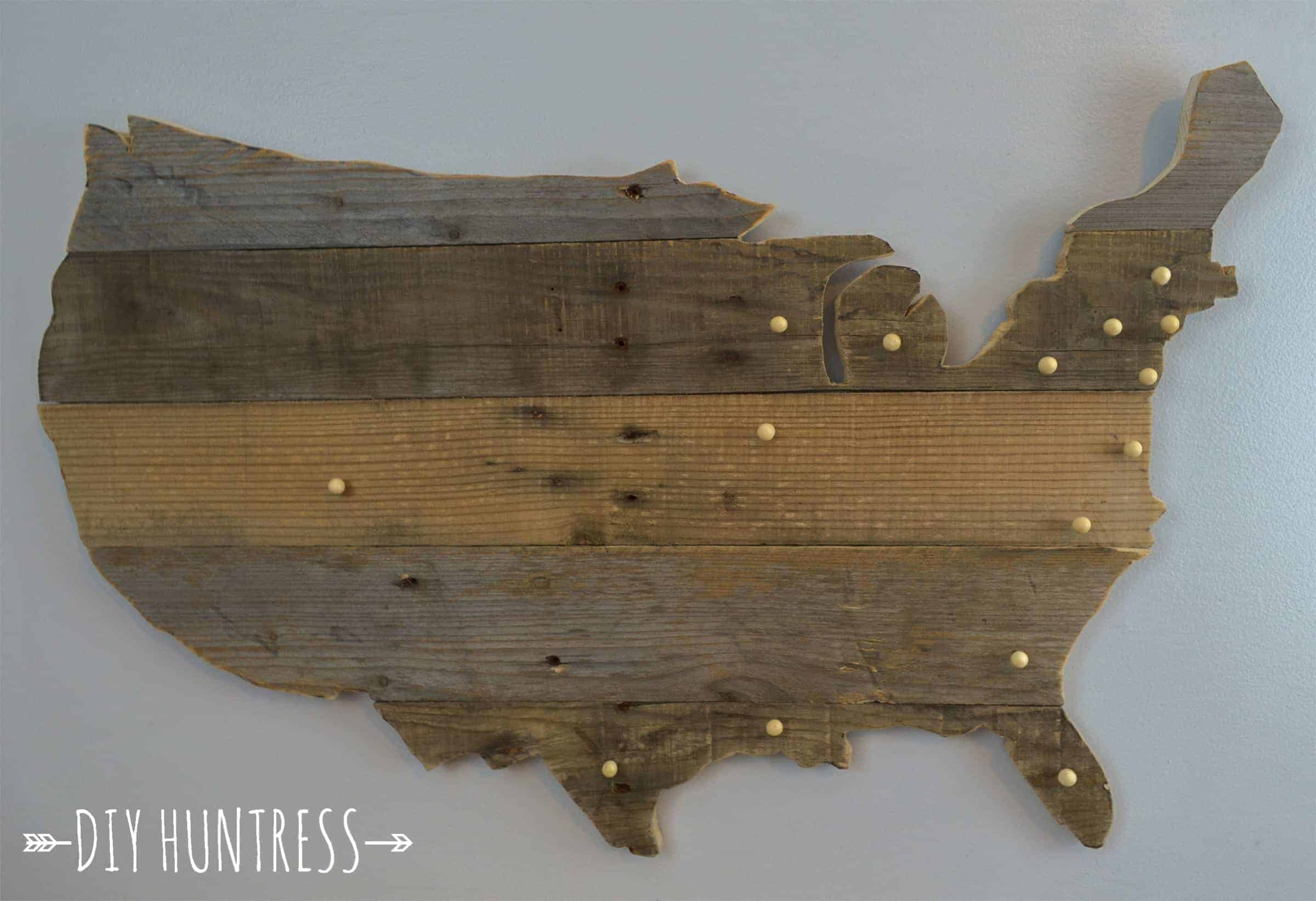 Map of the USA made from reclaimed wood pallets with pins