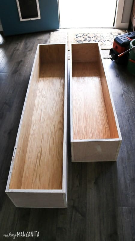 Plywood boxes for storage inside of dinette bench seating