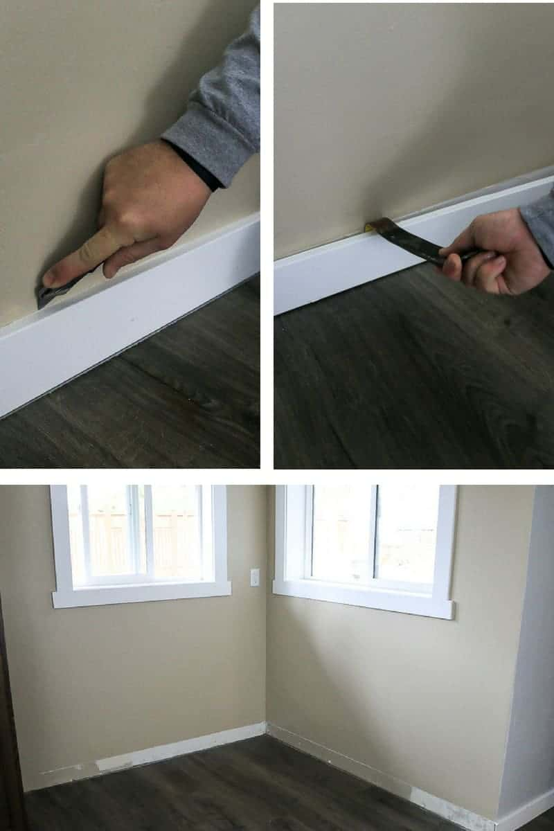 Photo collage showing how to remove baseboards in your breakfast nook before installing banquette bench seating