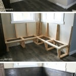 Series of three pictures showing before, during and after building a banquette bench in breakfast nook area of kitchen