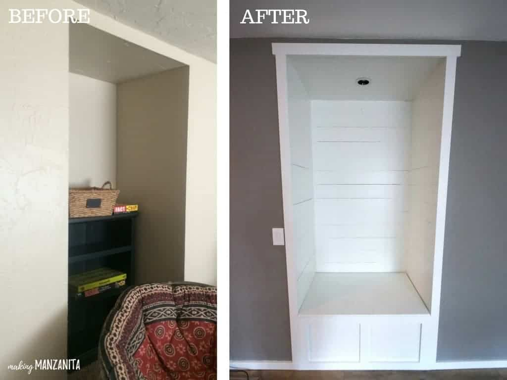 Before and after home renovations showing awkward cubby turned into a farmhouse reading nook with shiplap