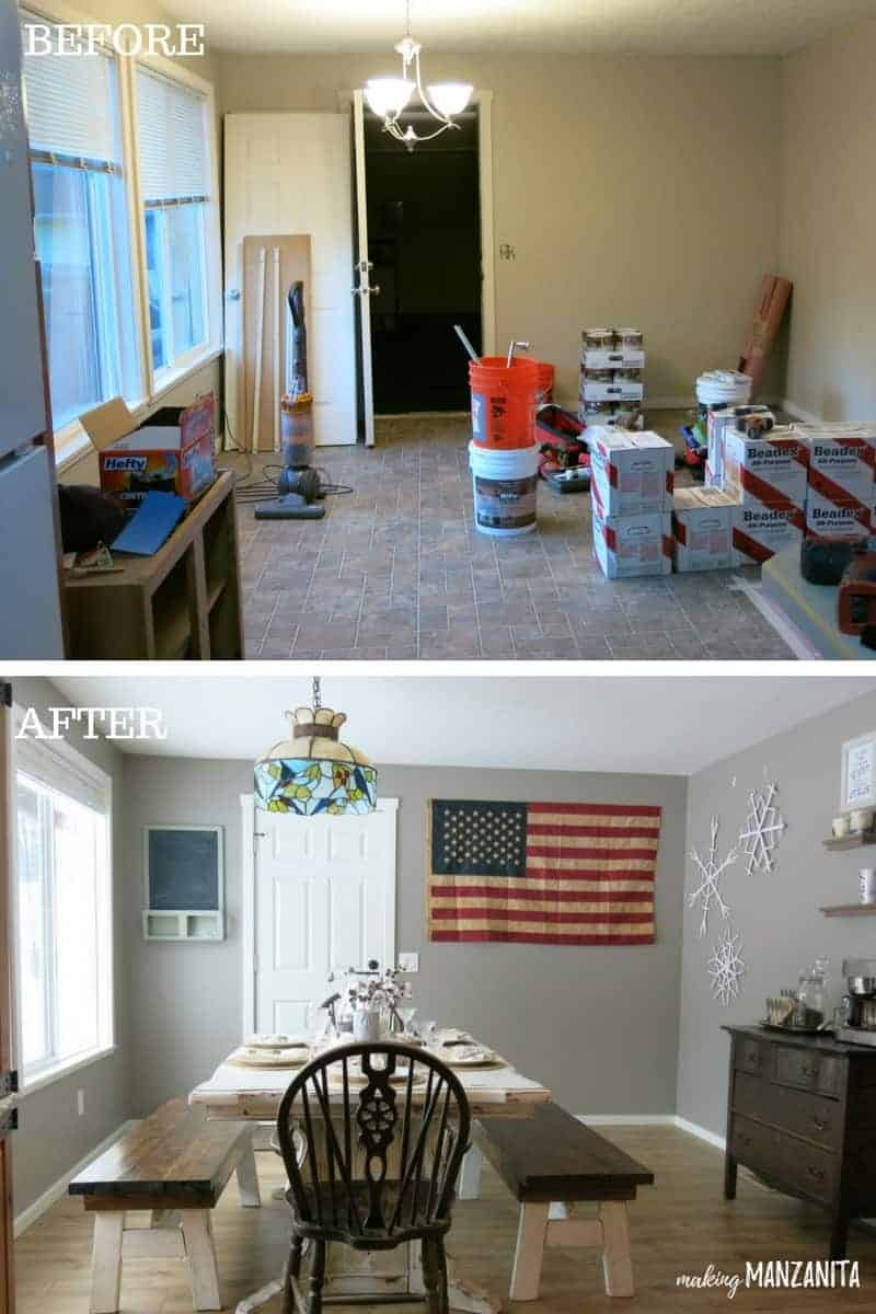 Before and after photos of dining room