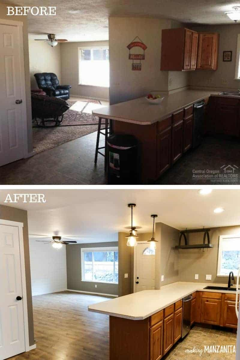 Before and after photos for kitchen renovation opening up and creating more of an open concept by removing small and upper cabinet