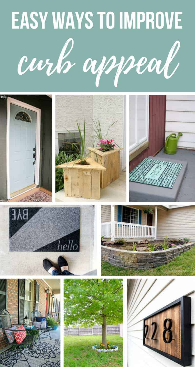 Photo collage of outdoor home images with text overlay that says easy ways to improve curb appeal