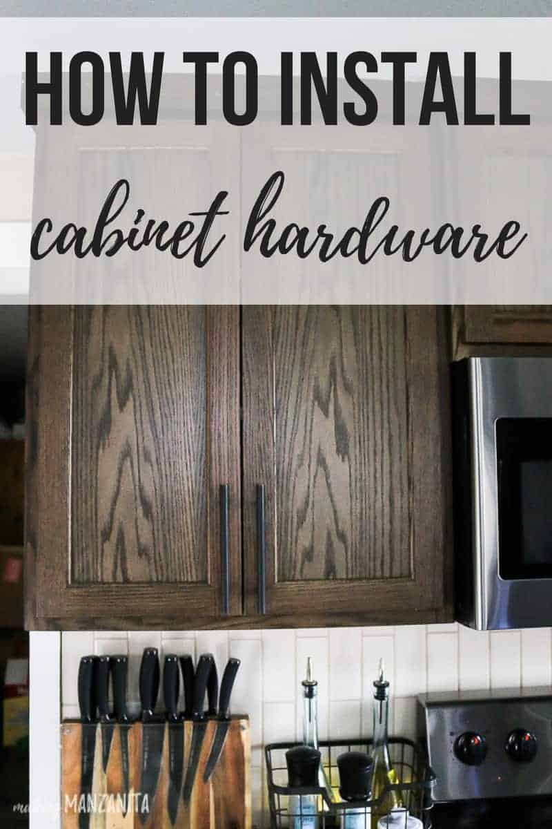 Kitchen cabinets with oil rubbed bronze cabinet hardware with text overlay that says how to install cabinet hardware