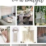 Photo collage with macrame home decor with text overlay that says macrame home decor on a budget